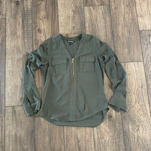 Olive green Express Chelsea popover with zip